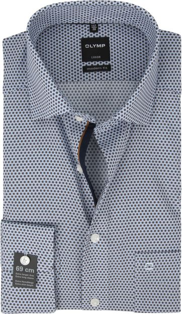 OLYMP Luxor Hemd Design Blau Braun SL7