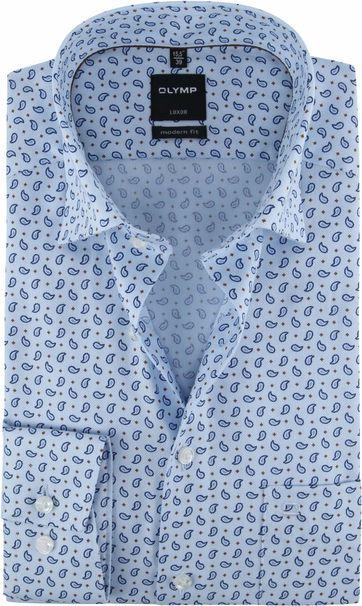 OLYMP Luxor Hemd Paisley Blauw