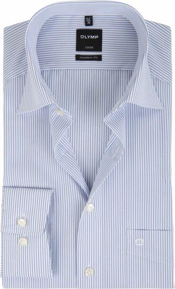 OLYMP Luxor Hemd Slim Line Weiß Blau Streifen