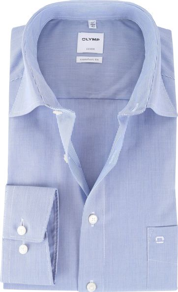 OLYMP Luxor Hemd Streifen Comfort Fit Blau