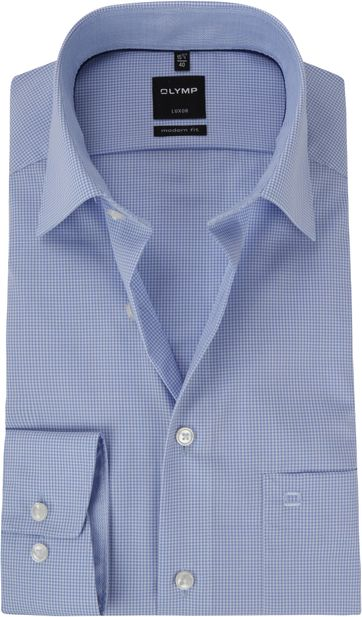OLYMP Luxor MF Blauw Ruit Hemd