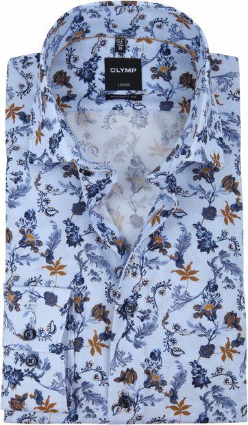 OLYMP Luxor MF Bloemen Overhemd Blauw
