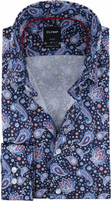 OLYMP Luxor MF Hemd Dunkelblau Paisley