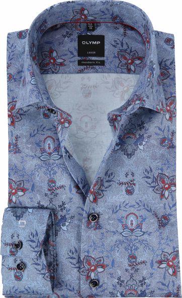 OLYMP Luxor MF Overhemd Bloemen Blauw