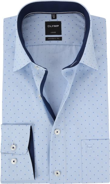 OLYMP Luxor MF Overhemd Dessin Blauw