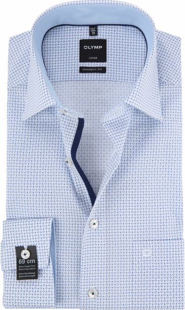 OLYMP Luxor MF Overhemd Dessin Blauw SL7