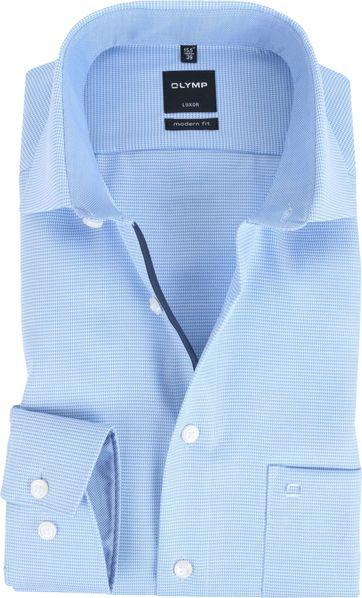 OLYMP Luxor Modern Fit Hemd Blauw Dessin
