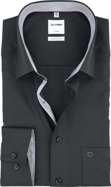 OLYMP Luxor Overhemd Antraciet Comfort Fit