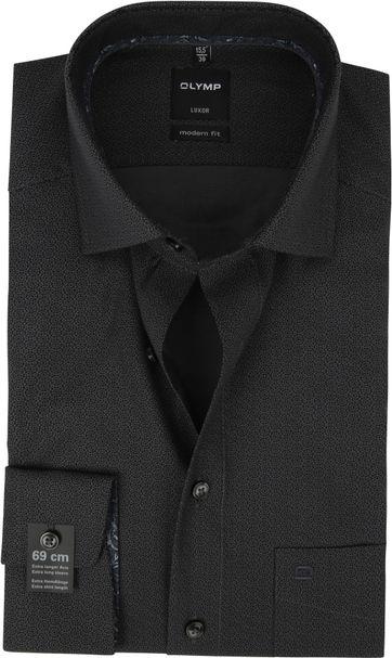 OLYMP Luxor Overhemd Dessin Zwart SL7