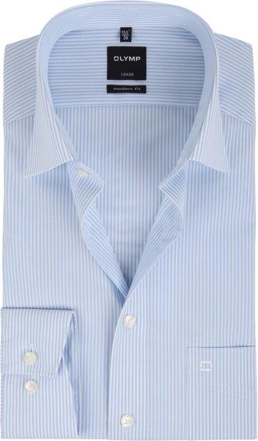 OLYMP Luxor Overhemd Lichtblauw Streep