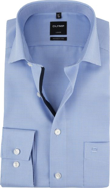 OLYMP Luxor Overhemd MF Blauw Wit SL7