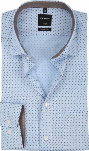 OLYMP Luxor Overhemd MF Dessin Blauw