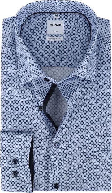 OLYMP Luxor Overhemd Print Blauw