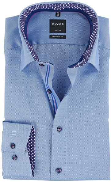 OLYMP Luxor Overhemd Strijkvrij Blauw Modern Fit