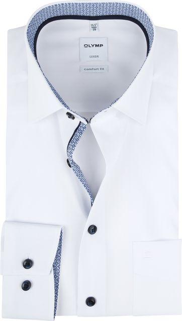 OLYMP Luxor Overhemd Wit Dessin Blauw