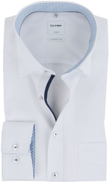 OLYMP Luxor Overhemd Wit Strijkvrij Comfort Fit