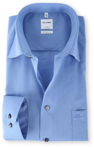 OLYMP Luxor Shirt Blauw Comfort Fit Lange Mouw