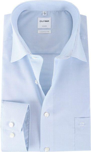 OLYMP Luxor Shirt Blauw Ruit Comfort Fit