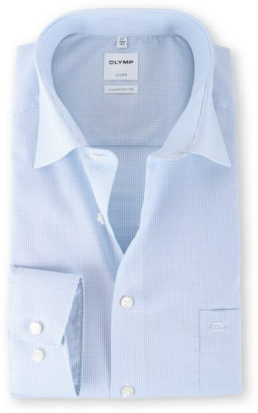 Olymp Luxor Shirt Blue Check Comfort Fit