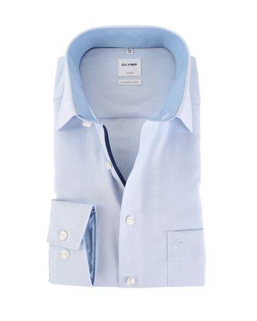 OLYMP Luxor Strijkvrij Comfort Fit Overhemd Blauw Dessin