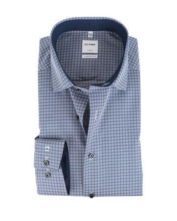 OLYMP Luxor Strijkvrij Comfort Fit Overhemd Blauw Print