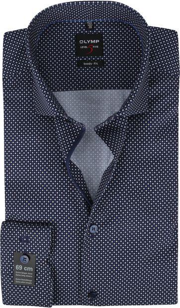 OLYMP Lvl 5 Extra LS Hemd Rond Patroon Donkerblauw