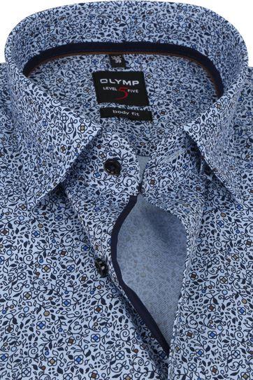 OLYMP Lvl 5 Extra LS Overhemd Bloemen Blauw