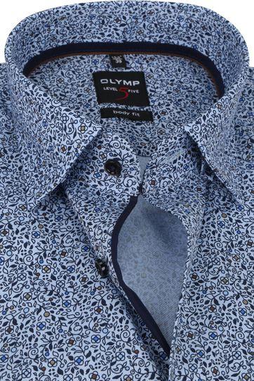 OLYMP Lvl 5 Extra LS Shirt Flowers Blue
