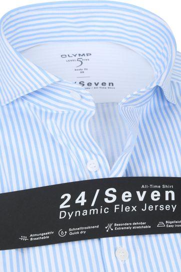 OLYMP Lvl 5 Hemd 24/Seven Streifen Hellblau