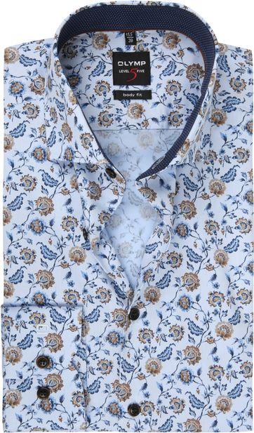 OLYMP Lvl 5 Overhemd Bloem Lichtblauw