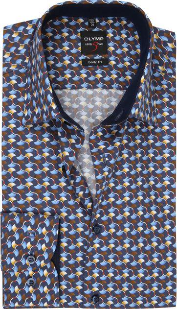 OLYMP Lvl 5 Overhemd Dessin Blauw