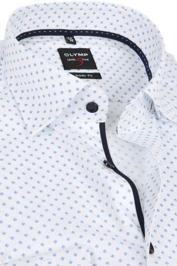 OLYMP Lvl 5 Overhemd Dessin Wit