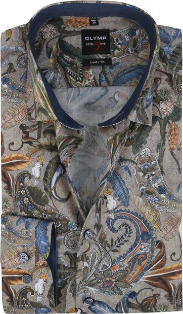 OLYMP Lvl 5 Overhemd Jungle Grijs