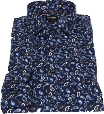 OLYMP Lvl 5 Overhemd Paisley Donkerblauw