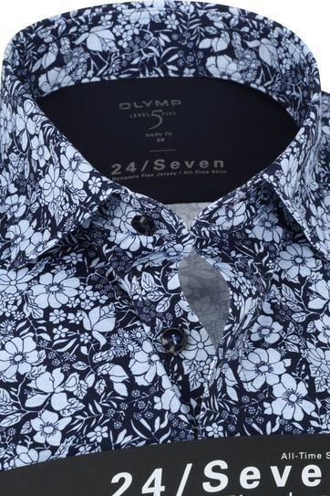 OLYMP Lvl 5 Shirt 24/Seven Flowers Dark Blue
