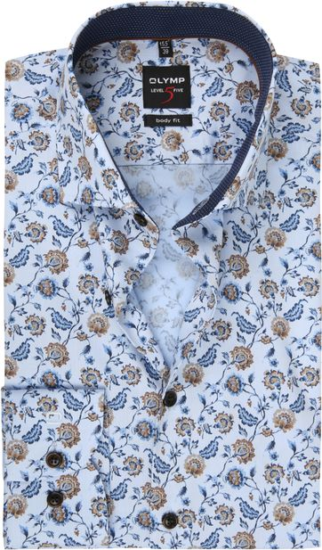 OLYMP Lvl 5 Shirt Flower Light Blue