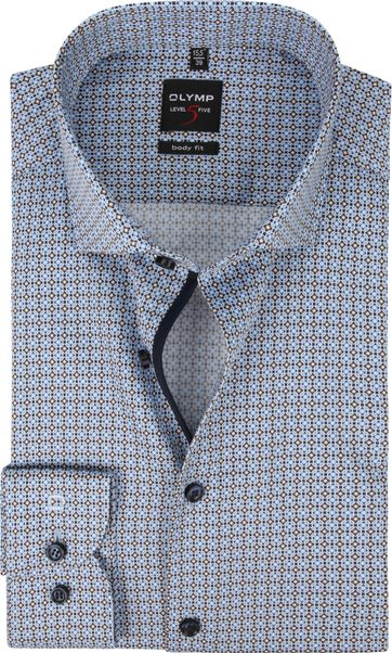 OLYMP Lvl5 Overhemd Dessin Blauw Bruin