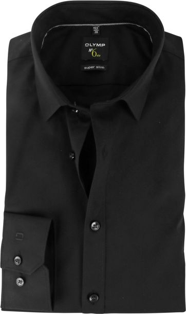 OLYMP No'6 six Super Slim Fit Overhemd Zwart
