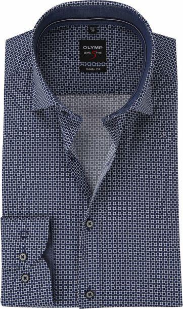 OLYMP Overhemd Level 5 Blauw Dessin WS