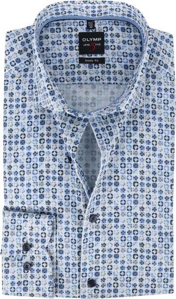 OLYMP Overhemd Level 5 Blauw Print