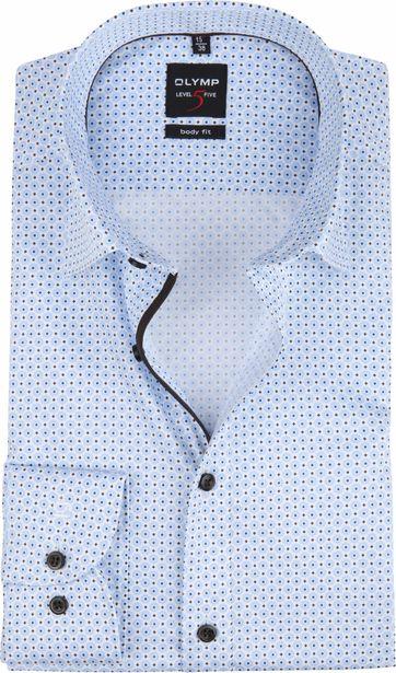 OLYMP Overhemd Level 5 Dessin Blauw