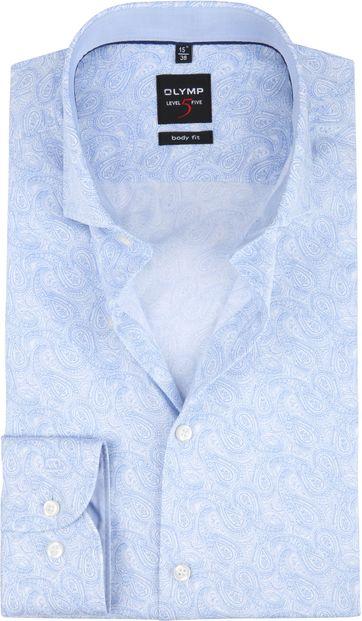 OLYMP Overhemd Level 5 Paisley Blauw