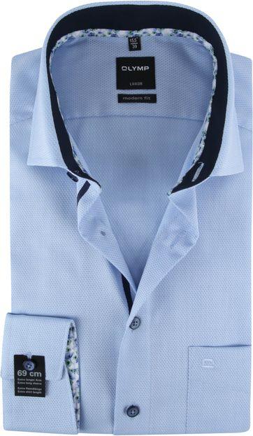 OLYMP Overhemd Luxor Blauw Dessin SL7