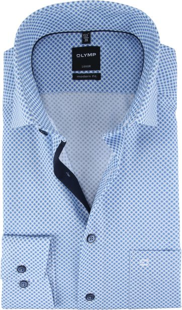 OLYMP Overhemd Luxor Blauw Patroon