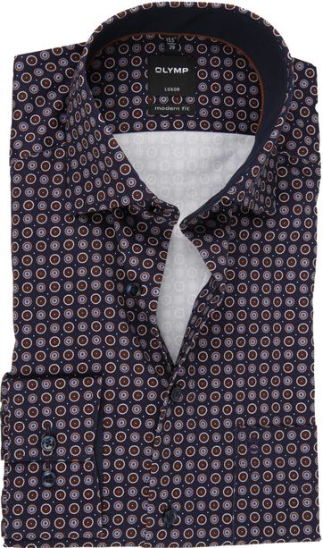 OLYMP Overhemd Luxor Dessin Donkerblauw