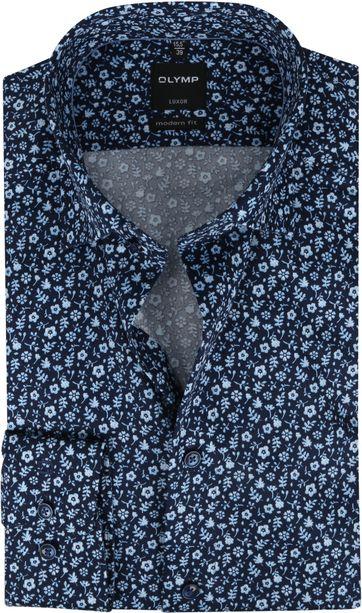 OLYMP Overhemd Luxor MF Bloemen Blauw