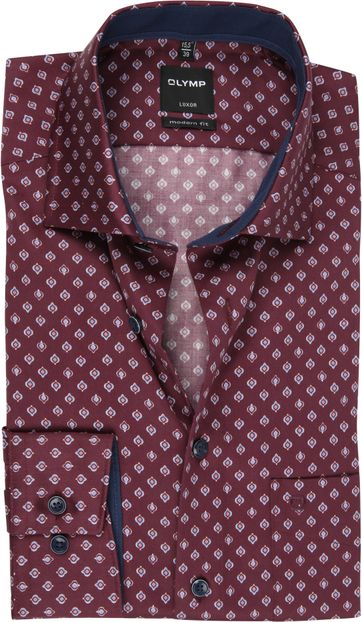 OLYMP Overhemd Luxor MF Dessin Donkerrood