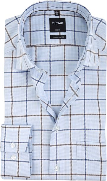 OLYMP Overhemd Luxor MF Ruit Lichtblauw