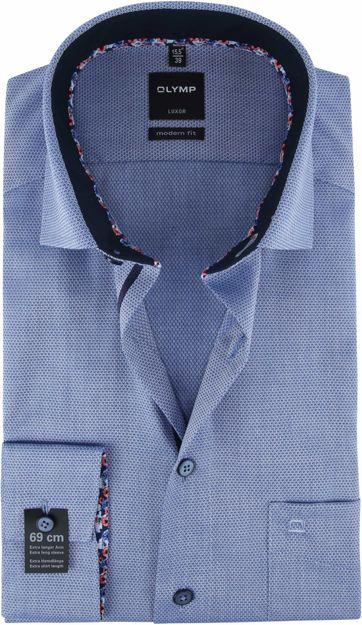 OLYMP Overhemd Luxor SL7 Dessin Blauw