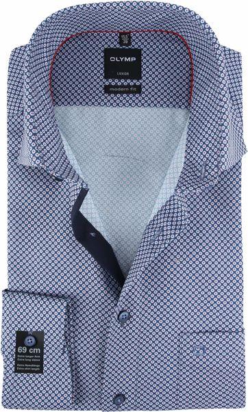 OLYMP Overhemd Luxor SL7 Navy Rood